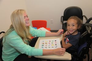NAPA speech pathologist works with child to achieve speech and language goals.